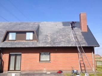 Reinigen ontmossen daken voor